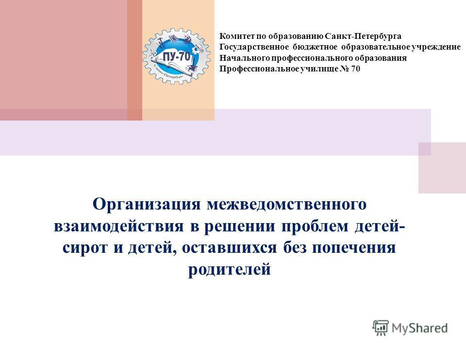 Комитет по образованию Санкт-Петербурга Государственное бюджетное образовательное учреждение Начального профессионального образования Профессиональное училище 70 Организация межведомственного взаимодействия в решении проблем детей- сирот и детей, ост