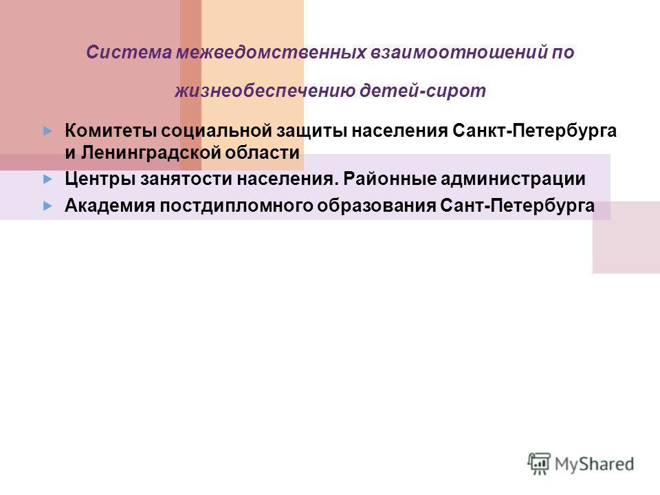 Система межведомственных взаимоотношений по жизнеобеспечению детей-сирот Комитеты социальной защиты населения Санкт-Петербурга и Ленинградской области Центры занятости населения. Районные администрации Академия постдипломного образования Сант-Петербу