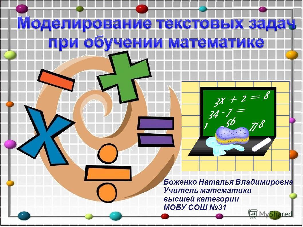 Боженко Наталья Владимировна Учитель математики высшей категории МОБУ СОШ 31