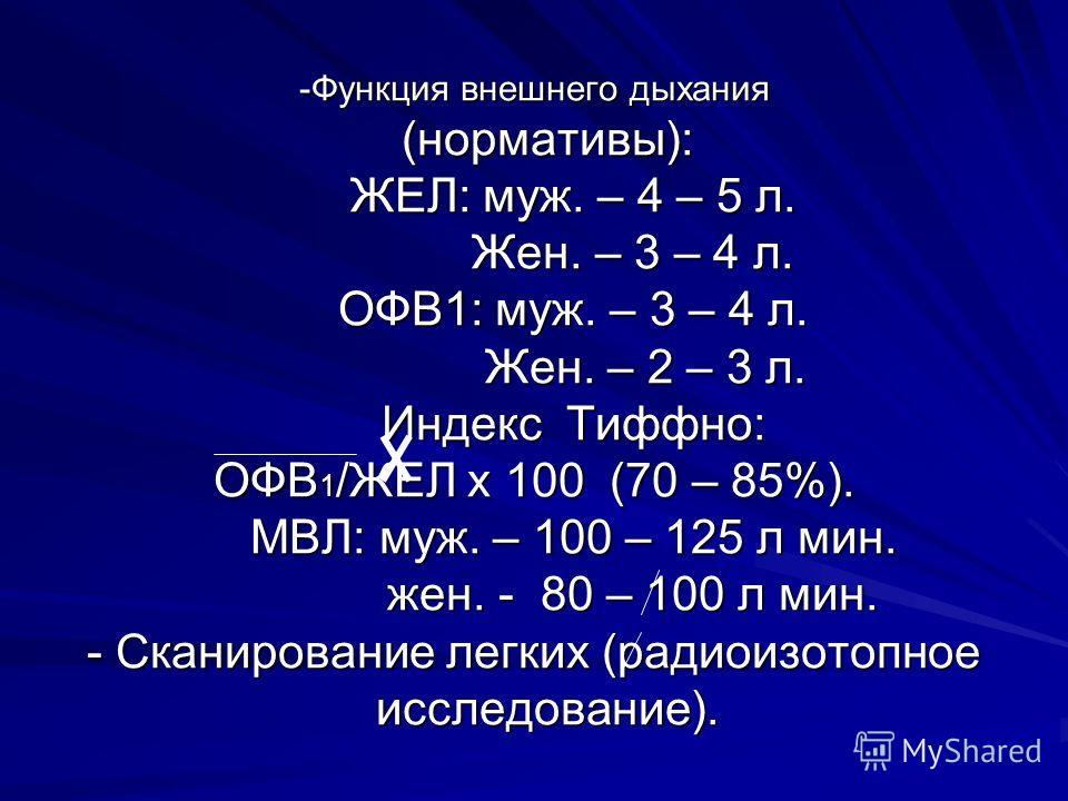 -Функция внешнего дыхания (нормативы): ЖЕЛ: муж. – 4 – 5 л. Жен. – 3 – 4 л. ОФВ1: муж. – 3 – 4 л. Жен. – 2 – 3 л. Индекс Тиффно: ОФВ 1 /ЖЕЛ х 100 (70 – 85%). МВЛ: муж. – 100 – 125 л мин. жен. - 80 – 100 л мин. - Сканирование легких (радиоизотопное ис