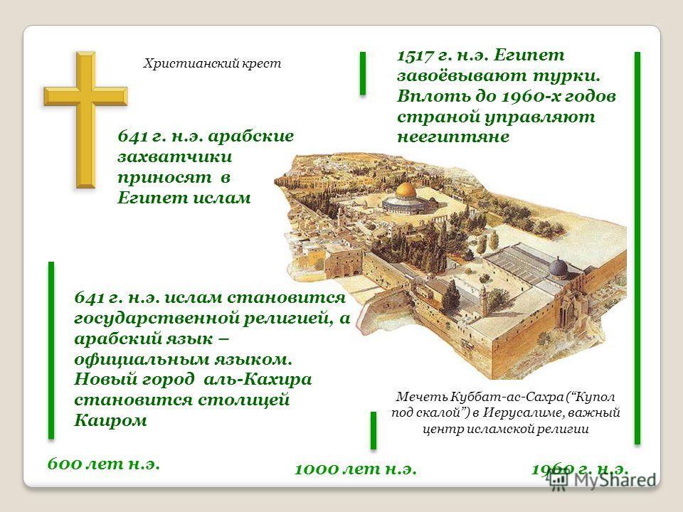 Христианский крест Мечеть Куббат-ас-Сахра (Купол под скалой) в Иерусалиме, важный центр исламской религии 600 лет н.э. 1000 лет н.э.1960 г. н.э. 641 г. н.э. арабские захватчики приносят в Египет ислам 641 г. н.э. ислам становится государственной рели
