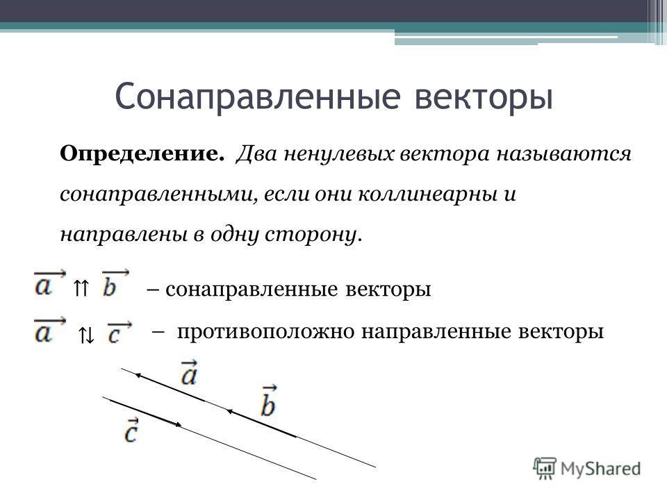 Сонаправленные векторы Определение. Два ненулевых вектора называются сонаправленными, если они коллинеарны и направлены в одну сторону. – сонаправленные векторы – противоположно направленные векторы