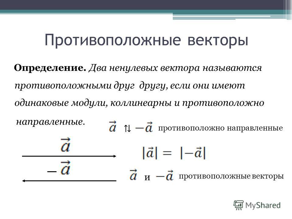 Противоположные векторы Определение. Два ненулевых вектора называются противоположными друг другу, если они имеют одинаковые модули, коллинеарны и противоположно направленные. и противоположно направленные противоположные векторы