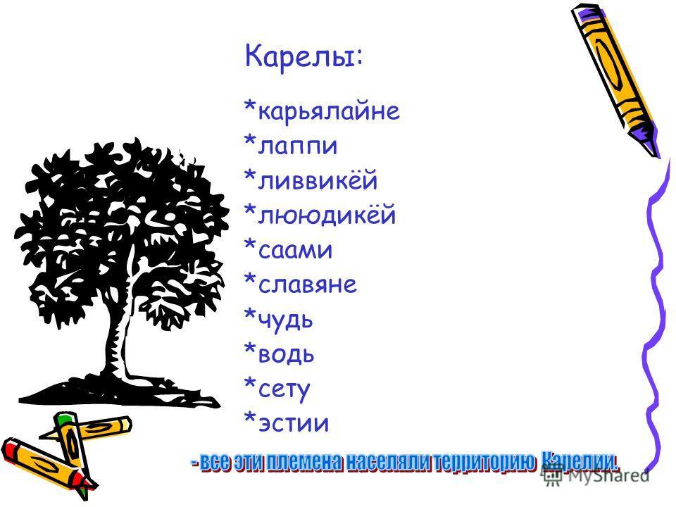Карелы: *карьялайне *лаппи *ливвикёй *лююдикёй *саами *славяне *чудь *водь *сету *эстии