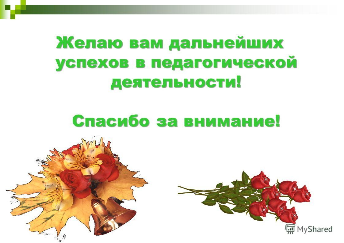 Желаю вам дальнейших успехов в педагогической деятельности! Спасибо за внимание!