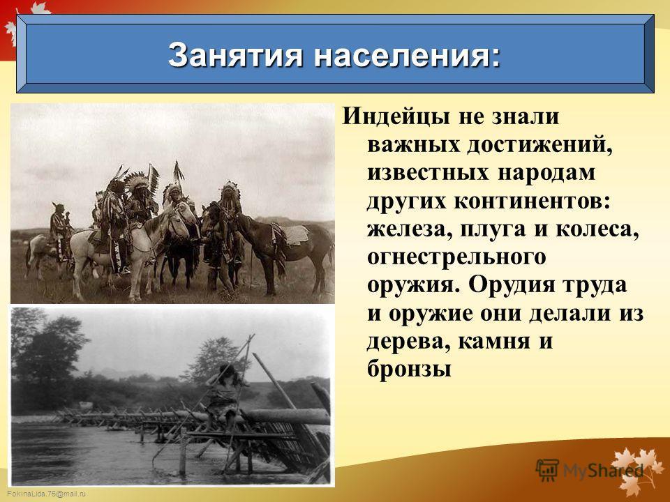 FokinaLida.75@mail.ru Индейцы не знали важных достижений, известных народам других континентов: железа, плуга и колеса, огнестрельного оружия. Орудия труда и оружие они делали из дерева, камня и бронзы Занятия населения: