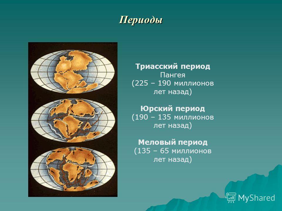 Периоды Триасский период Пангея (225 – 190 миллионов лет назад) Юрский период (190 – 135 миллионов лет назад) Меловый период (135 – 65 миллионов лет назад)