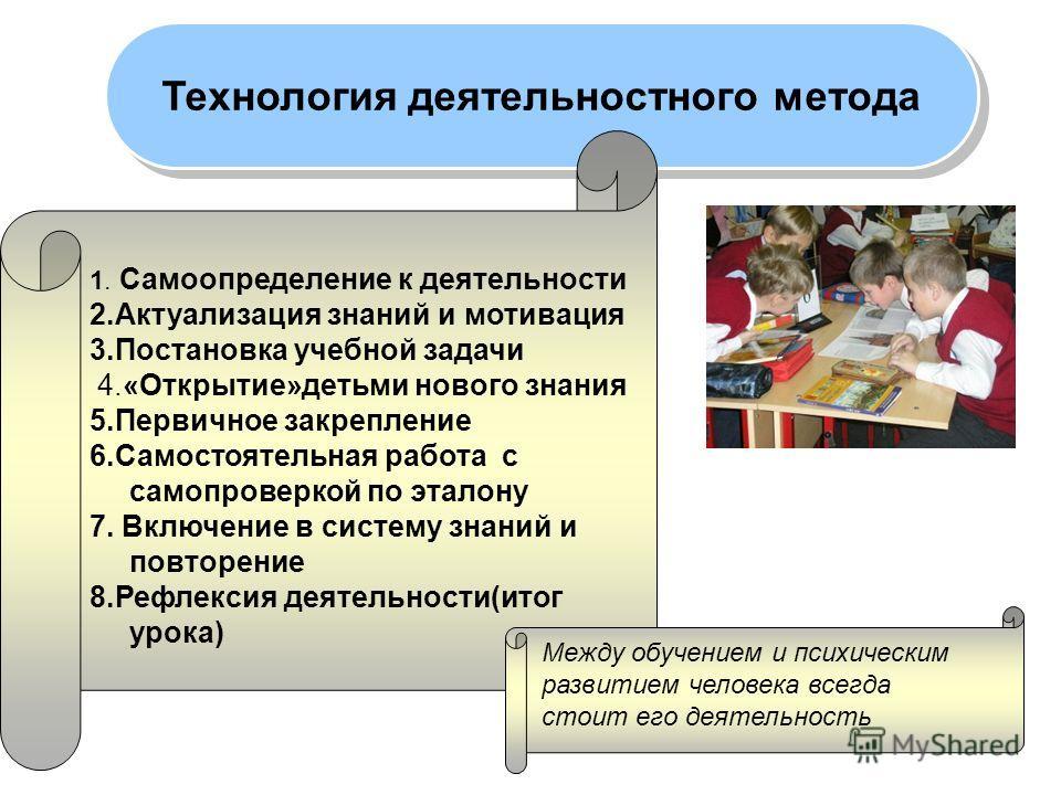 Технология деятельностного метода 1. Самоопределение к деятельности 2.Актуализация знаний и мотивация 3.Постановка учебной задачи 4.«Открытие»детьми нового знания 5.Первичное закрепление 6.Самостоятельная работа с самопроверкой по эталону 7. Включени