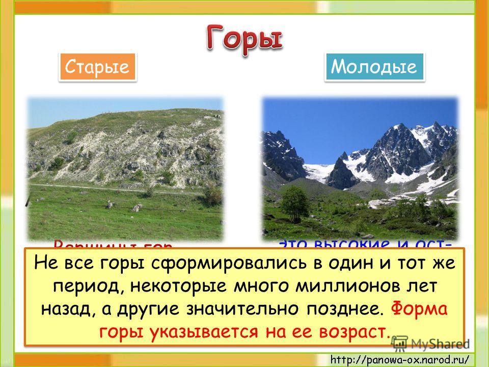 Вершины гор невысокие и неострые, склоны пологие. Это высокие и ост- рые горы, склоны крутые, вершины покрыты снегом. Старые Молодые Не все горы сформировались в один и тот же период, некоторые много миллионов лет назад, а другие значительно позднее.
