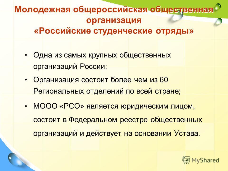 Молодежная общероссийская общественная организация «Российские студенческие отряды» Одна из самых крупных общественных организаций России; Организация состоит более чем из 60 Региональных отделений по всей стране; МООО «РСО» является юридическим лицо