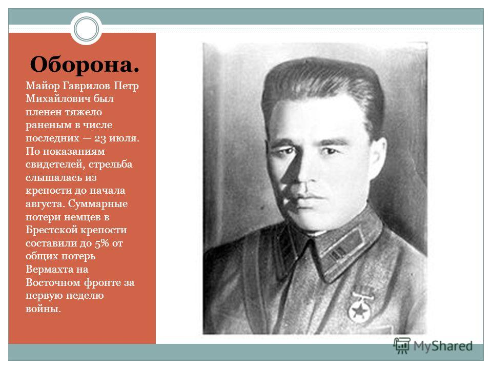 Оборона. Майор Гаврилов Петр Михайлович был пленен тяжело раненым в числе последних 23 июля. По показаниям свидетелей, стрельба слышалась из крепости до начала августа. Суммарные потери немцев в Брестской крепости составили до 5% от общих потерь Верм