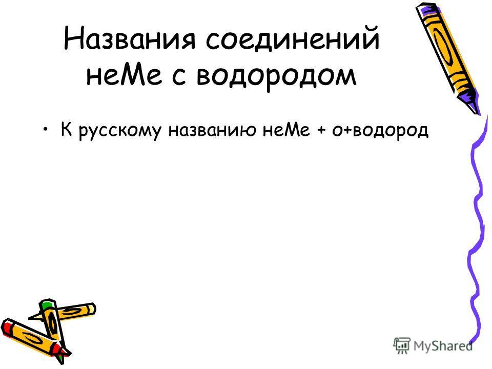 Названия соединений неМе с водородом К русскому названию неМе + о+водород