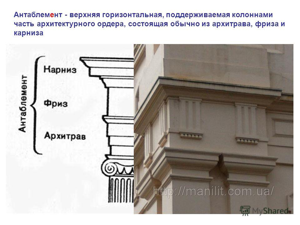 Антаблемент - верхняя горизонтальная, поддерживаемая колоннами часть архитектурного ордера, состоящая обычно из архитрава, фриза и карниза