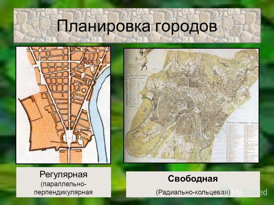Планировка городов Регулярная (параллельно- перпендикулярная Свободная (Радиально-кольцевая)