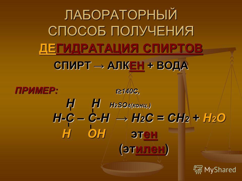 ЛАБОРАТОРНЫЙ СПОСОБ ПОЛУЧЕНИЯ ДЕГИДРАТАЦИЯ СПИРТОВ СПИРТ АЛКЕН + ВОДА ПРИМЕР: t140C, Н Н Н 2 SO 4 (конц.) Н Н Н 2 SO 4 (конц.) Н-С – С-Н Н 2 С = СН 2 + Н 2 О Н-С – С-Н Н 2 С = СН 2 + Н 2 О Н ОН этен Н ОН этен (этилен) (этилен)