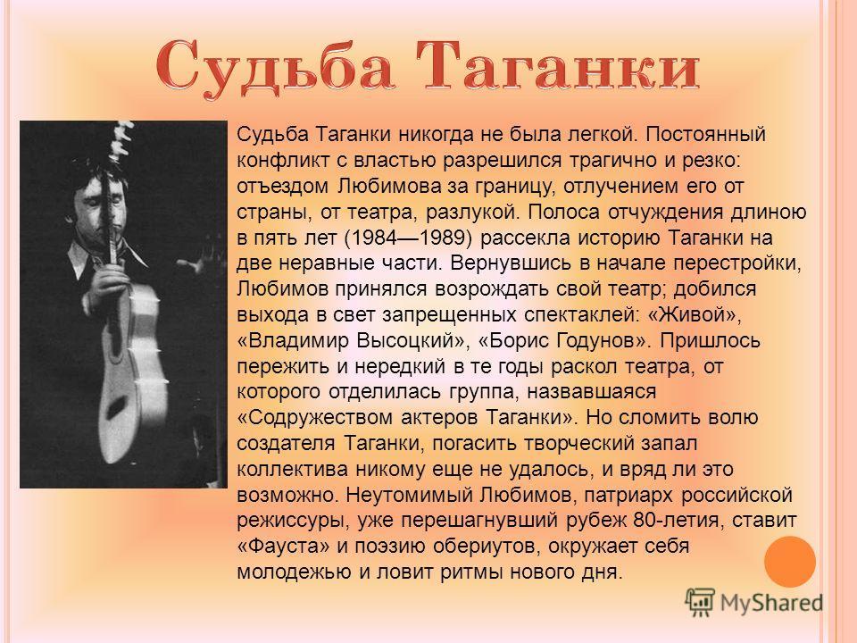 Судьба Таганки никогда не была легкой. Постоянный конфликт с властью разрешился трагично и резко: отъездом Любимова за границу, отлучением его от страны, от театра, разлукой. Полоса отчуждения длиною в пять лет (19841989) рассекла историю Таганки на
