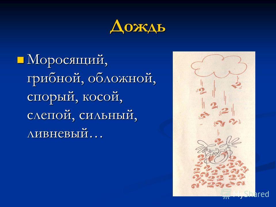 Дождь Моросящий, грибной, обложной, спорый, косой, слепой, сильный, ливневый… Моросящий, грибной, обложной, спорый, косой, слепой, сильный, ливневый…