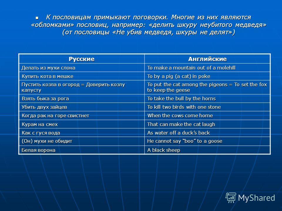 Сравнение русских и английских поговорок и пословицы