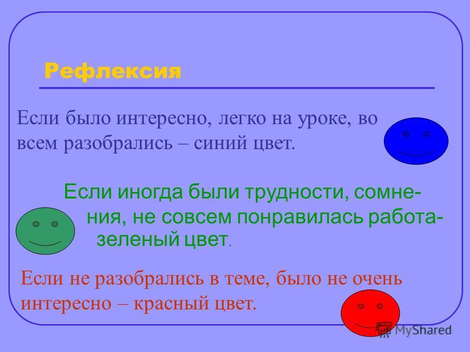 Если было интересно, легко на уроке, во всем разобрались – синий цвет. Если иногда были трудности, сомне- ния, не совсем понравилась работа- зеленый цвет. Если не разобрались в теме, было не очень интересно – красный цвет. Рефлексия