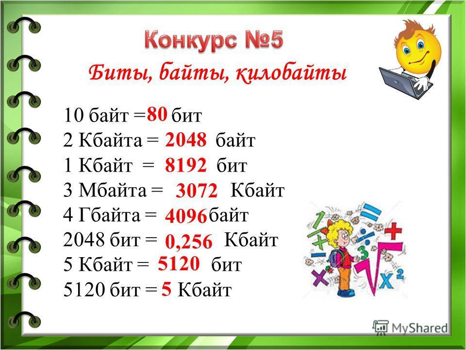 Биты, байты, килобайты 10 байт = бит 2 Кбайта = байт 1 Кбайт = бит 3 Мбайта = Кбайт 4 Гбайта = байт 2048 бит = Кбайт 5 Кбайт = бит 5120 бит = Кбайт 80 2048 8192 3072 4096 0,256 5120 5