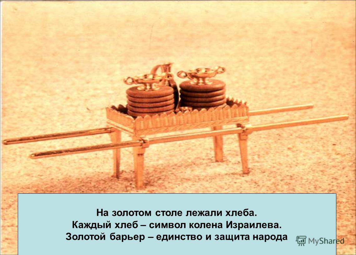 На золотом столе лежали хлеба. Каждый хлеб – символ колена Израилева. Золотой барьер – единство и защита народа