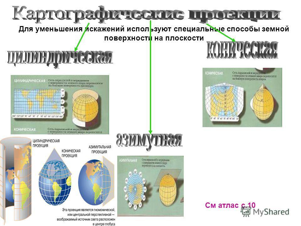 Для уменьшения искажений используют специальные способы земной поверхности на плоскости См атлас с.10