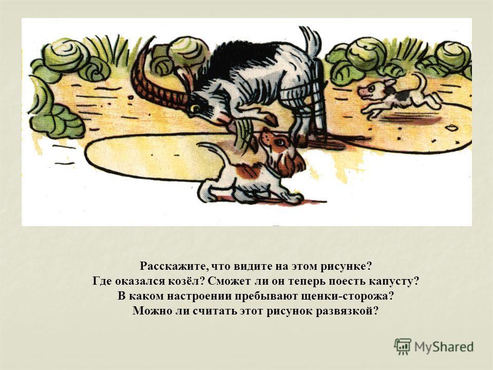 Расскажите, что видите на этом рисунке? Где оказался козёл? Сможет ли он теперь поесть капусту? В каком настроении пребывают щенки-сторожа? Можно ли считать этот рисунок развязкой?