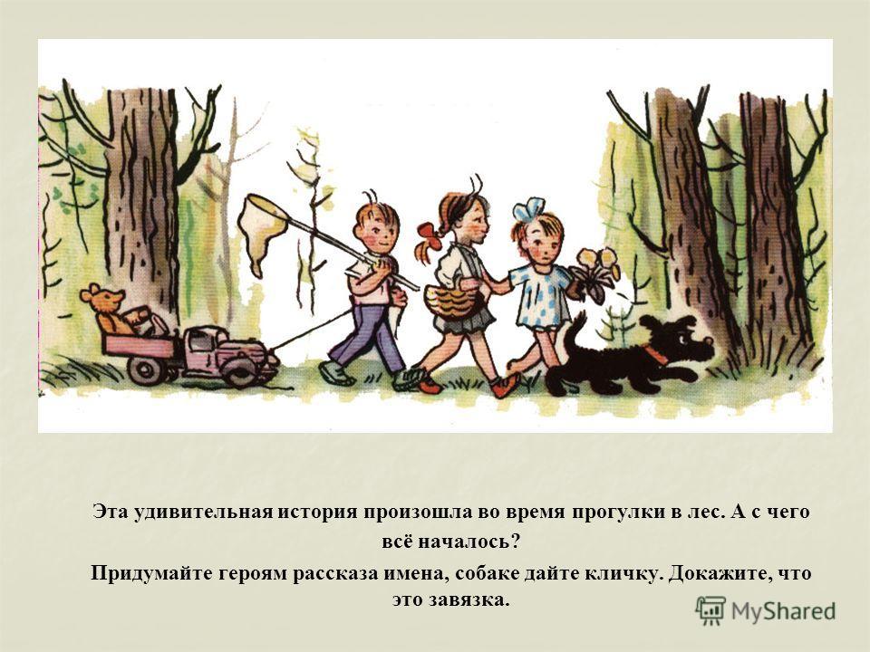 Эта удивительная история произошла во время прогулки в лес. А с чего всё началось? Придумайте героям рассказа имена, собаке дайте кличку. Докажите, что это завязка.