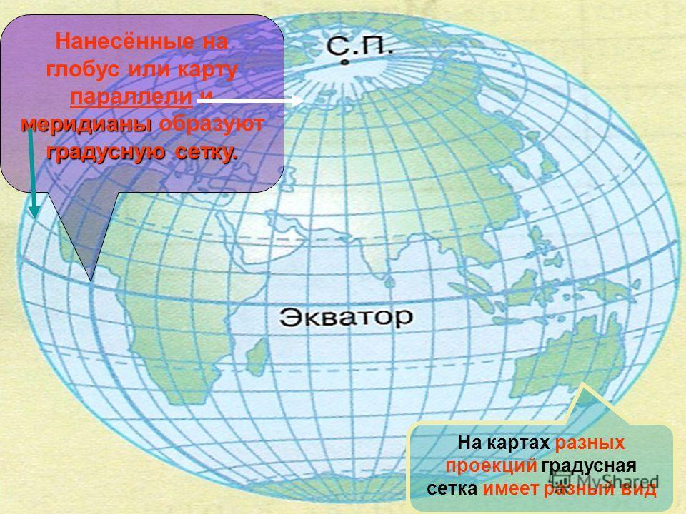 меридианы градусную сетку. Нанесённые на глобус или карту параллели и меридианы образуют градусную сетку. На картах разных проекций градусная сетка имеет разный вид