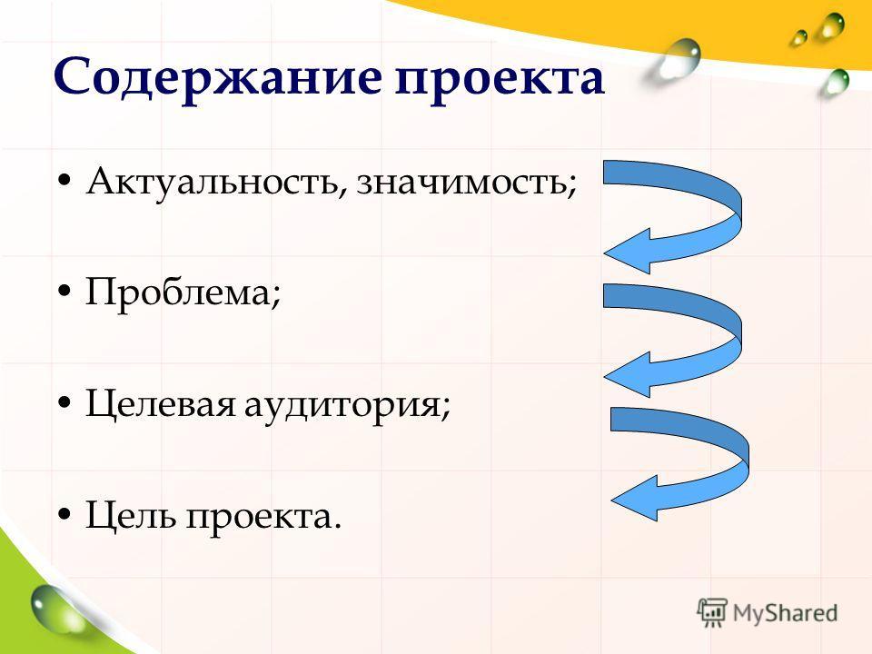 Содержание проекта Актуальность, значимость; Проблема; Целевая аудитория; Цель проекта.