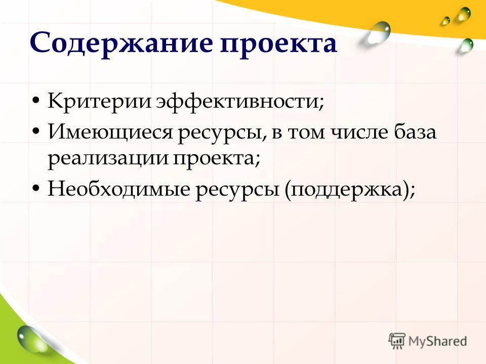 Содержание проекта Критерии эффективности; Имеющиеся ресурсы, в том числе база реализации проекта; Необходимые ресурсы (поддержка);