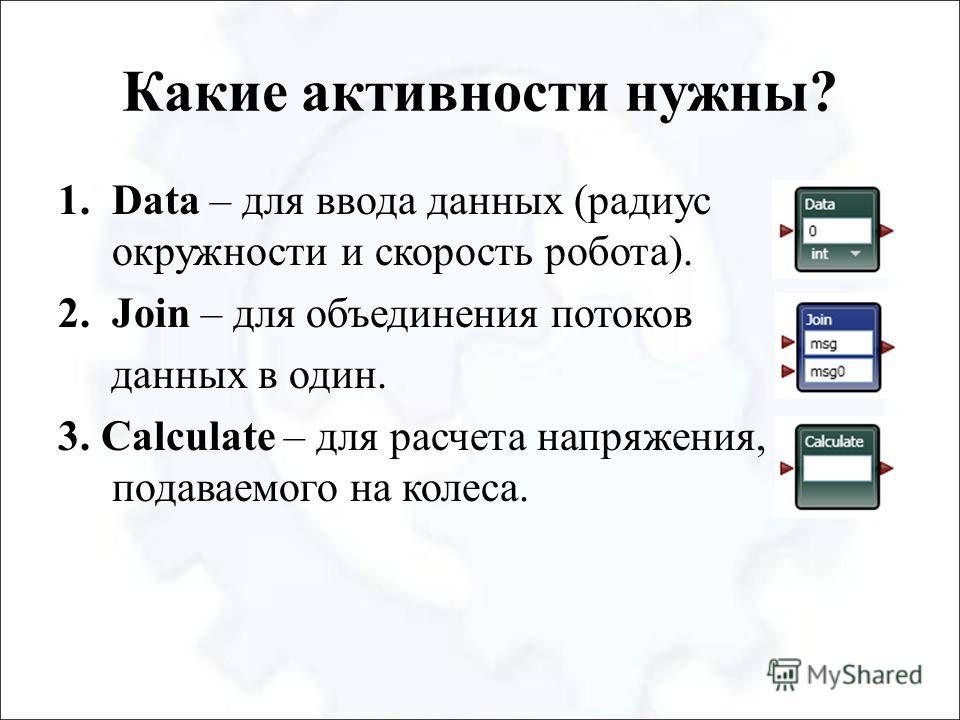 Какие активности нужны? 1.Data – для ввода данных (радиус окружности и скорость робота). 2.Join – для объединения потоков данных в один. 3. Calculate – для расчета напряжения, подаваемого на колеса.