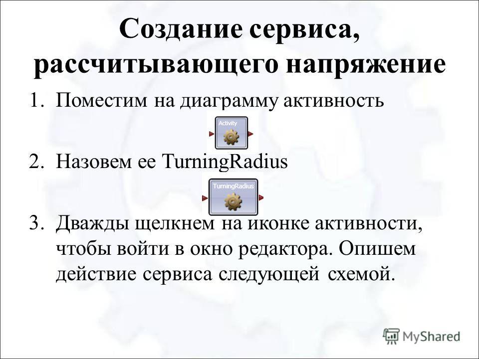 Создание сервиса, рассчитывающего напряжение 1.Поместим на диаграмму активность 2.Назовем ее TurningRadius 3.Дважды щелкнем на иконке активности, чтобы войти в окно редактора. Опишем действие сервиса следующей схемой.