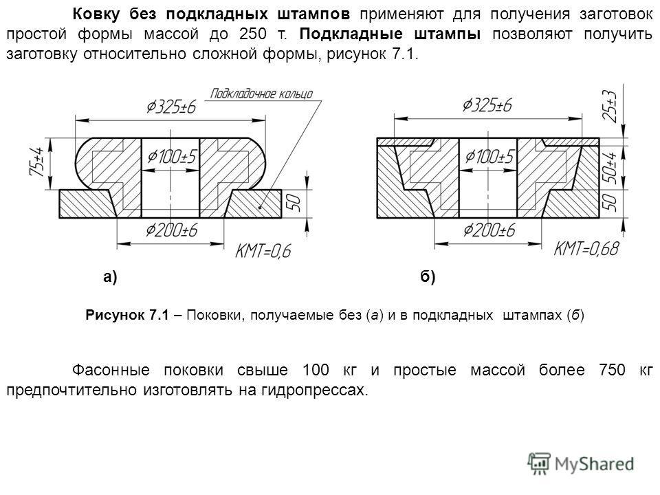Ковку без подкладных штампов применяют для получения заготовок простой формы массой до 250 т. Подкладные штампы позволяют получить заготовку относительно сложной формы, рисунок 7.1. а) б) Рисунок 7.1 – Поковки, получаемые без (а) и в подкладных штамп