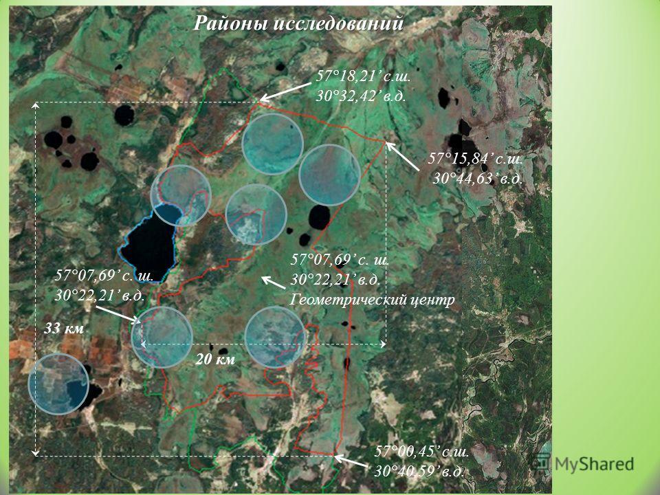 57°18,21 с.ш. 30°32,42 в.д. 57°15,84 с.ш. 30°44,63 в.д. 57°07,69 с. ш. 30°22,21 в.д. 57°00,45 с.ш. 30°40,59 в.д.. 57°07,69 с. ш. 30°22,21 в.д. Геометрический центр 33 км 20 км Районы исследований