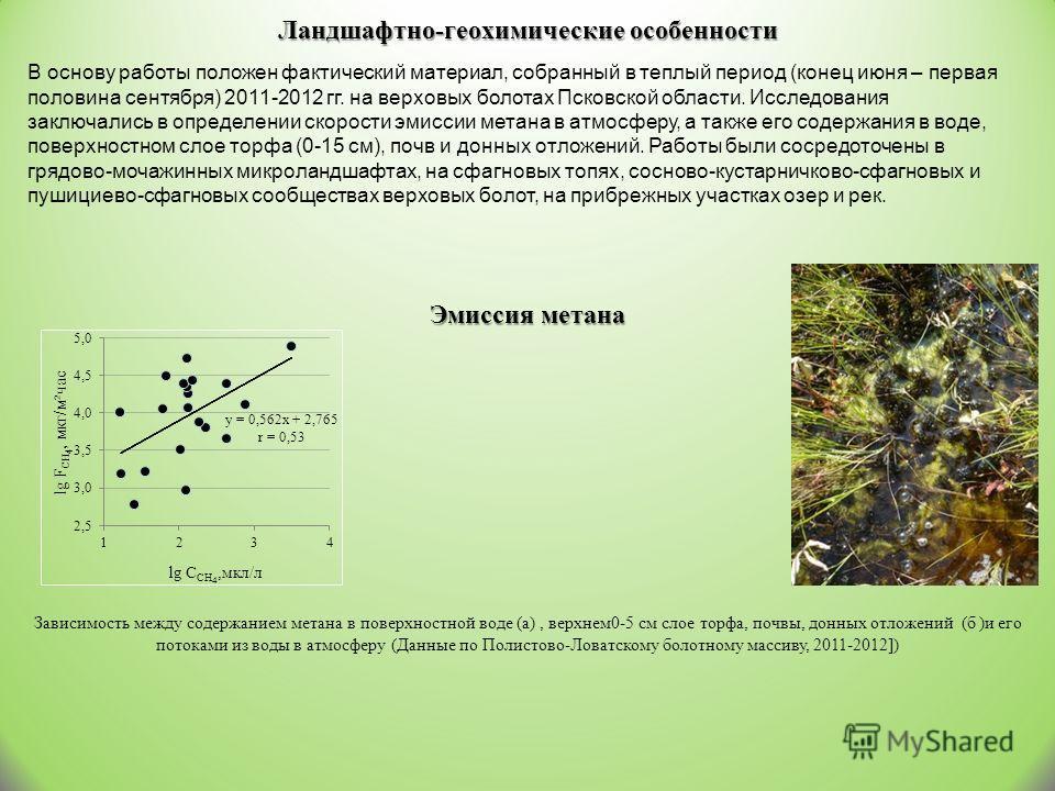 Ландшафтно-геохимические особенности В основу работы положен фактический материал, собранный в теплый период (конец июня – первая половина сентября) 2011-2012 гг. на верховых болотах Псковской области. Исследования заключались в определении скорости