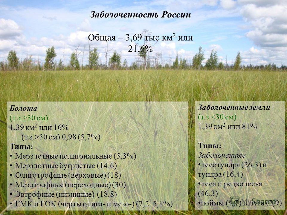 Заболоченность России Общая – 3,69 тыс км 2 или 21,6% Болота (т.з.30 см) 1,39 км 2 или 16% (т.з.>50 см) 0,98 (5,7%) Типы: Мерзлотные полигональные (5,3%) Мерзлотные бугристые (14,6) Олиготрофные (верховые) (18) Мезотрофные (переходные) (30) Эвтрофные