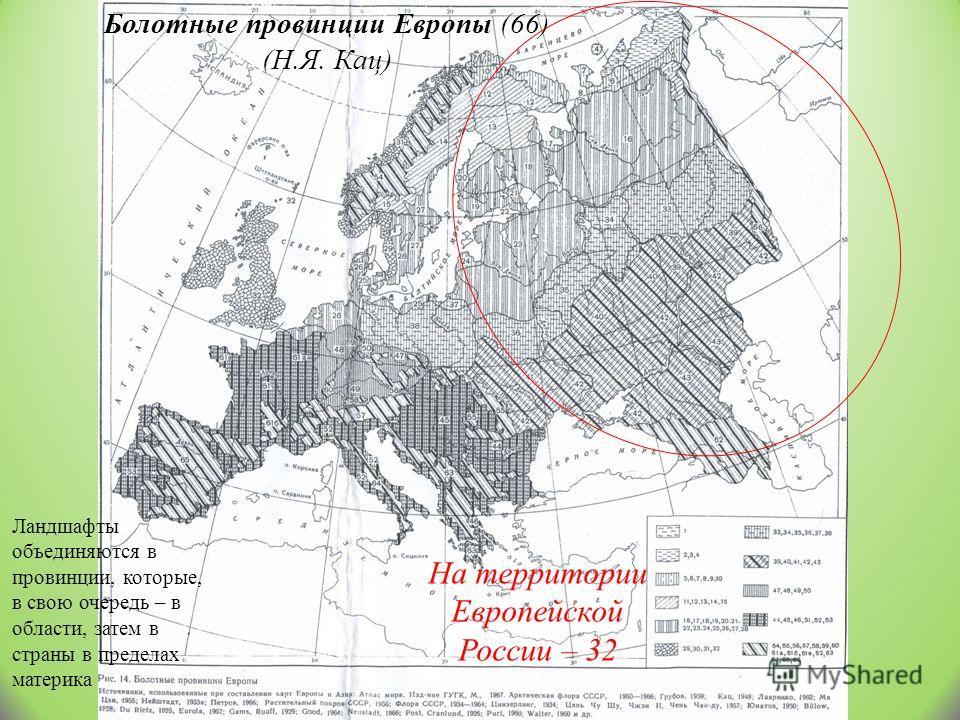 Болотные провинции Европы (66) (Н.Я. Кац) На территории Европейской России – 32 Ландшафты объединяются в провинции, которые, в свою очередь – в области, затем в страны в пределах материка