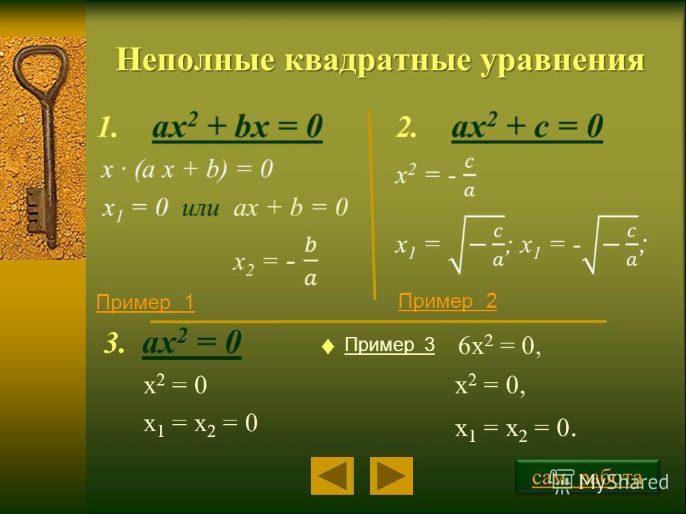 Неполные квадратные уравнения 3. ax 2 = 0 x 2 = 0 x 1 = x 2 = 0 Пример 1 Пример 2 Пример 3 сам. работа 6х 2 = 0, х 2 = 0, х 1 = х 2 = 0.