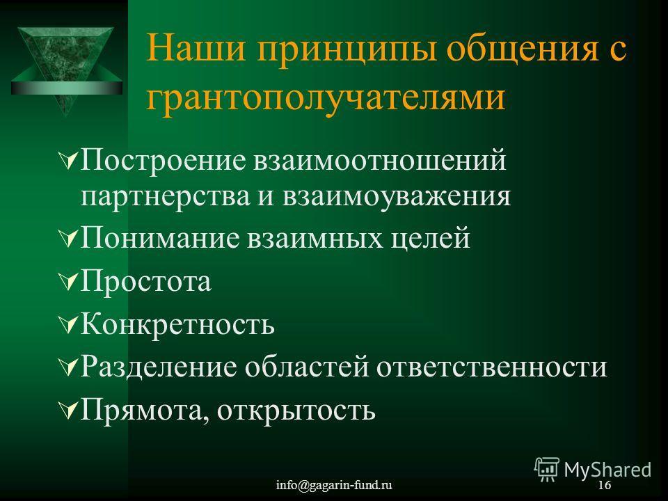 info@gagarin-fund.ru16 Наши принципы общения с грантополучателями Построение взаимоотношений партнерства и взаимоуважения Понимание взаимных целей Простота Конкретность Разделение областей ответственности Прямота, открытость