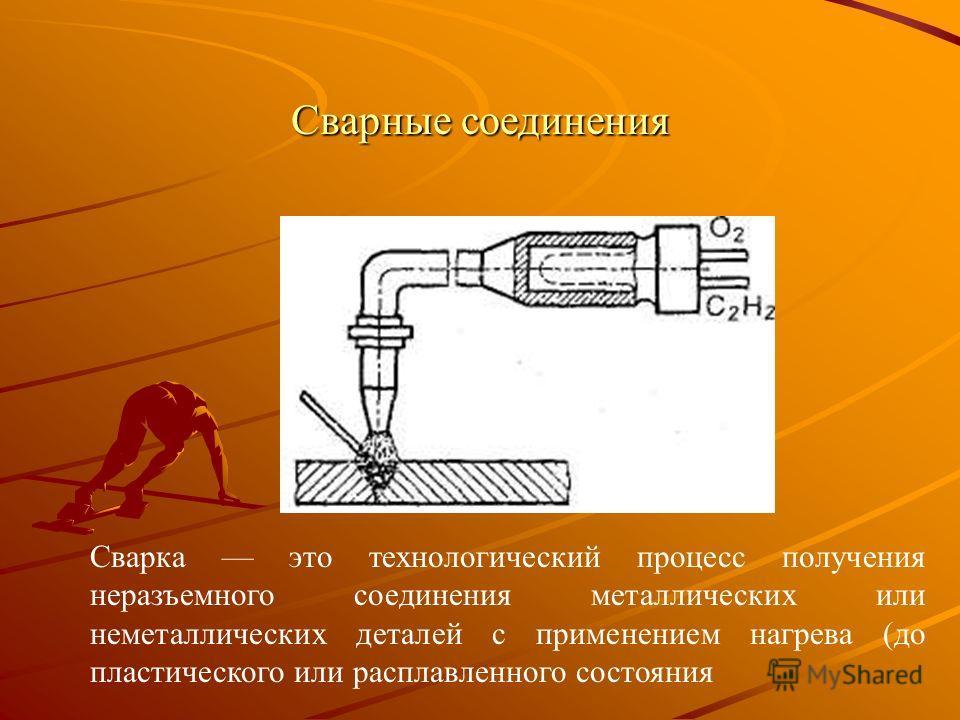 Сварные соединения Сварка это технологический процесс получения неразъемного соединения металлических или неметаллических деталей с применением нагрева (до пластического или расплавленного состояния