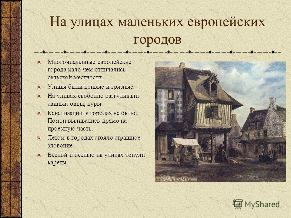 На улицах маленьких европейских городов Многочисленные европейские города мало чем отличались сельской местности. Улицы были кривые и грязные. На улицах свободно разгуливали свиньи, овцы, куры. Канализации в городах не было. Помои выливались прямо на
