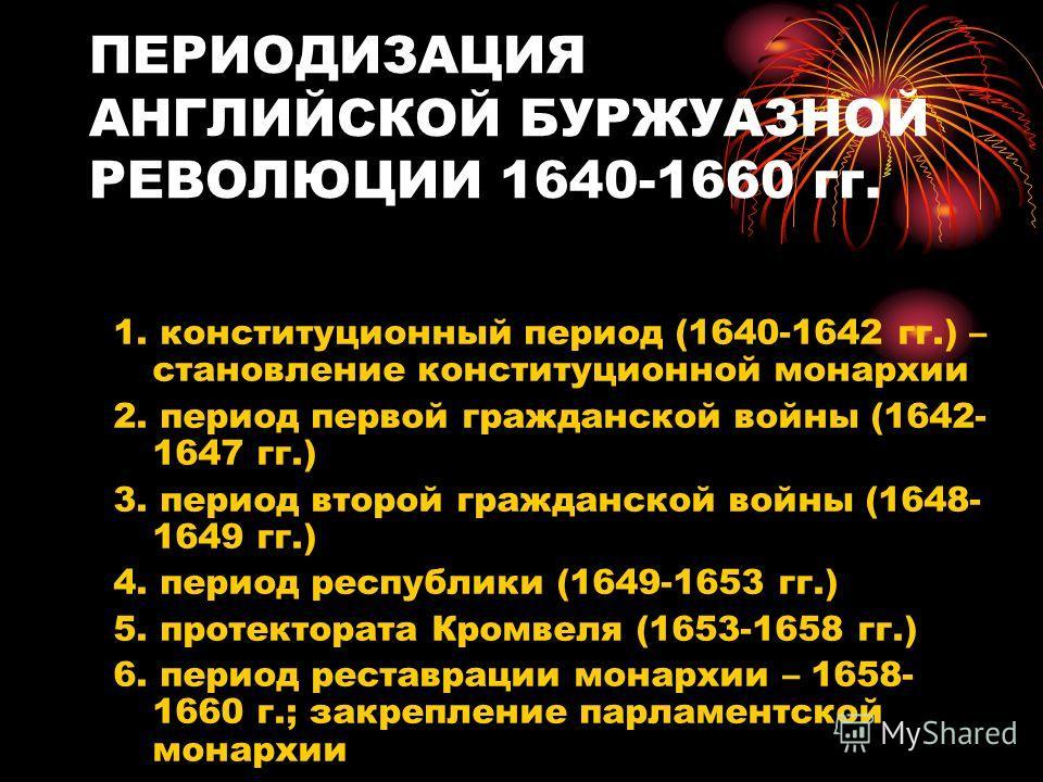ПЕРИОДИЗАЦИЯ АНГЛИЙСКОЙ БУРЖУАЗНОЙ РЕВОЛЮЦИИ 1640-1660 гг. Английская буржуазная революция включала следующие этапы: 1. конституционный период (1640-1642 гг.) – становление конституционной монархии 2. период первой гражданской войны (1642- 1647 гг.)