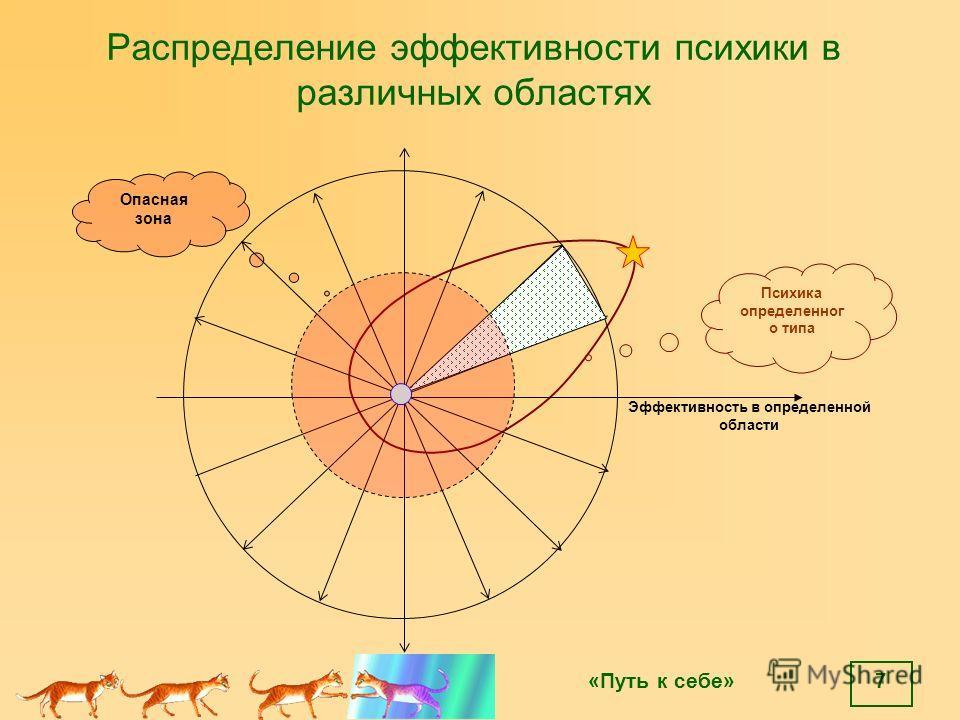 «Путь к себе» 7 Распределение эффективности психики в различных областях Эффективность в определенной области Психика определенног о типа Опасная зона