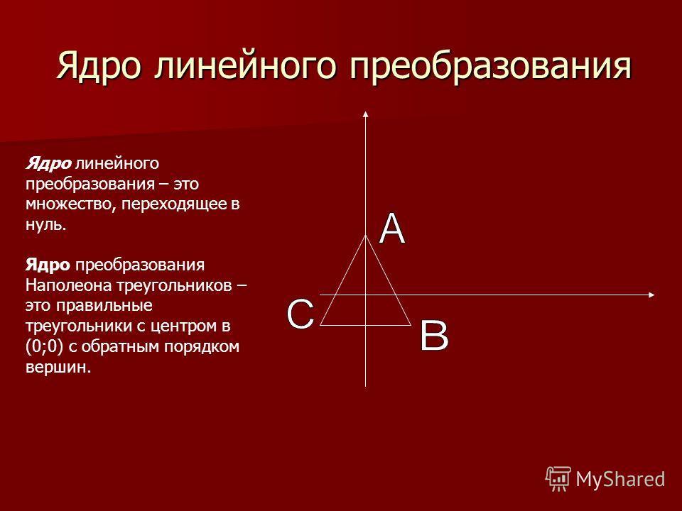 Ядро линейного преобразования Ядро линейного преобразования – это множество, переходящее в нуль. Ядро преобразования Наполеона треугольников – это правильные треугольники с центром в (0;0) с обратным порядком вершин.