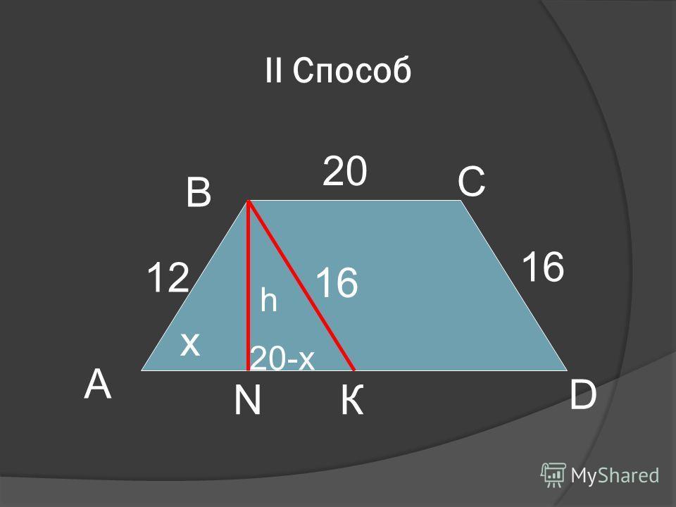 II Способ А D В С КN 20 12 16 х h 20-x 16