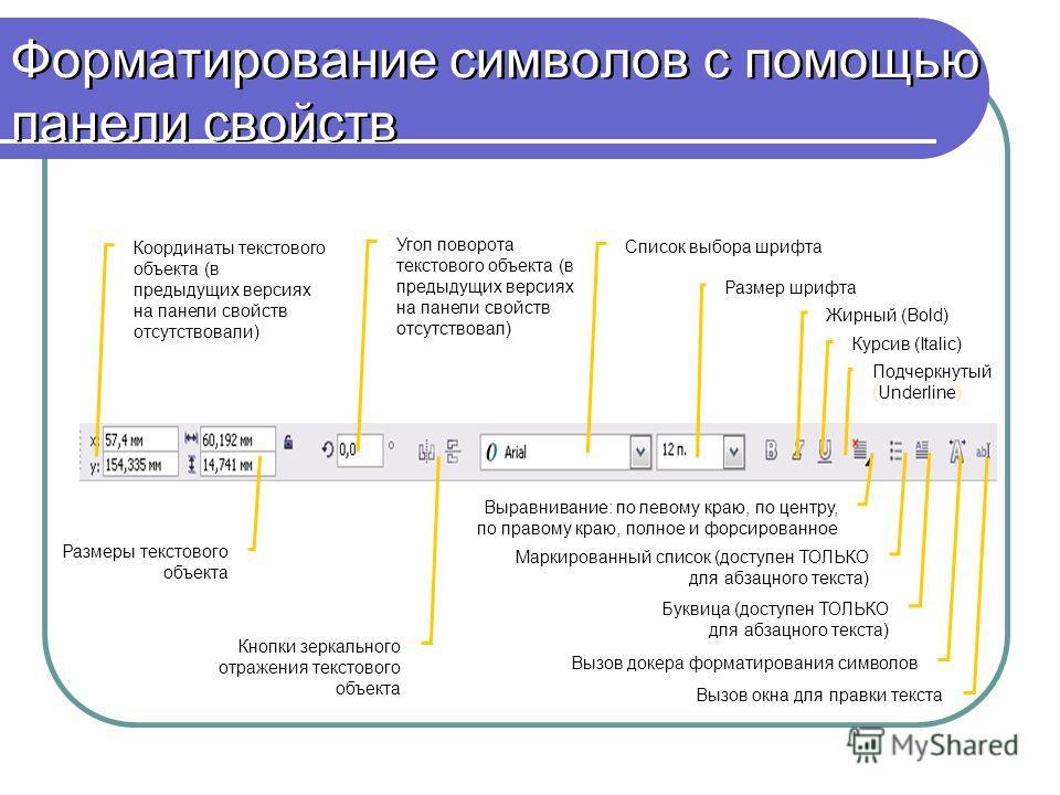 Форматирование символов с помощью панели свойств Координаты текстового объекта (в предыдущих версиях на панели свойств отсутствовали) Размеры текстового объекта Угол поворота текстового объекта (в предыдущих версиях на панели свойств отсутствовал) Кн