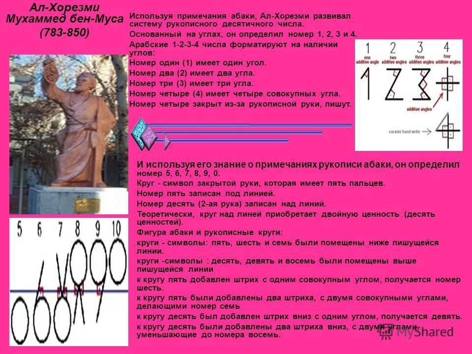 Ал-Хорезми Мухаммед бен-Муса (783-850) Используя примечания абаки, Ал-Хорезми развивал систему рукописного десятичного числа. Основанный на углах, он определил номер 1, 2, 3 и 4. Арабские 1-2-3-4 числа форматируют на наличии углов: Номер один (1) име