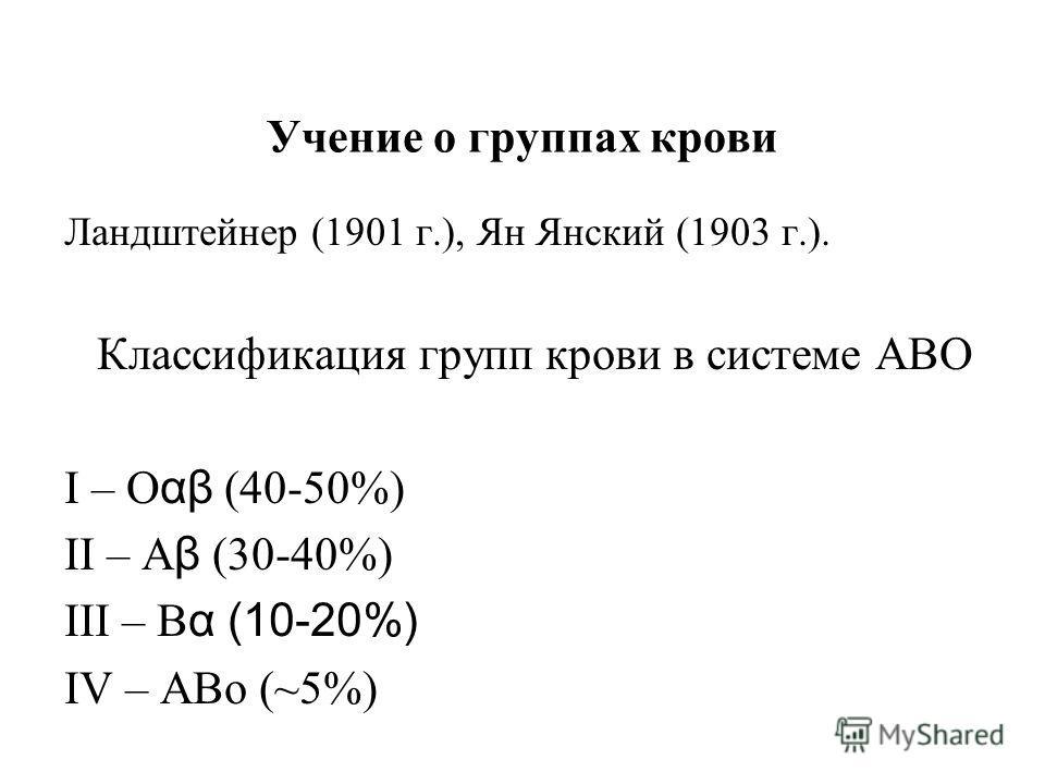Учение о группах крови Ландштейнер (1901 г.), Ян Янский (1903 г.). Классификация групп крови в системе АВО I – О αβ (40-50%) II – А β (30-40%) III – В α (10-20%) IV – АВо (~5%)