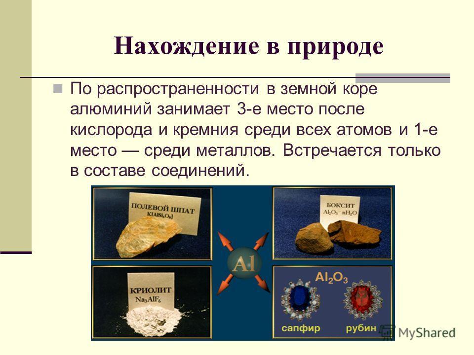 Нахождение в природе По распространенности в земной коре алюминий занимает 3-е место после кислорода и кремния среди всех атомов и 1-е место среди металлов. Встречается только в составе соединений.